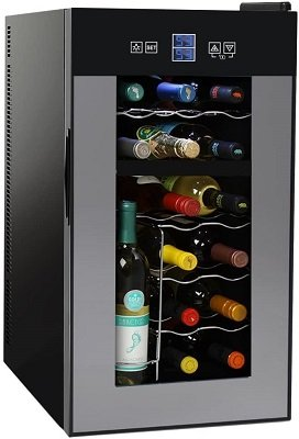NutriChef-PKTEWCDS1802-18-Bottle-Dual-Zone-Thermoelectric-Wine-Cooler