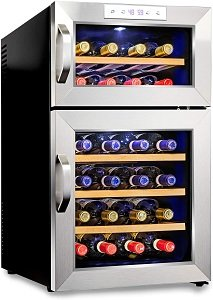 Ivation Premium Stainless Steel Dual Zone Thermoelectric Wine Refrigerator