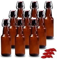 YEBODA 12 oz Amber Glass Beer Storage Bottles