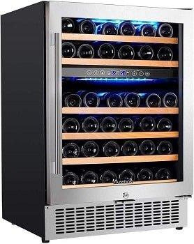 Aobosi 24 Inch 46 Bottle Dual Zone Wine Cooler