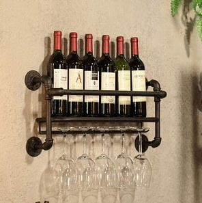 BOKKOLIK Wall Mounted Industrial Wine Glass Rack