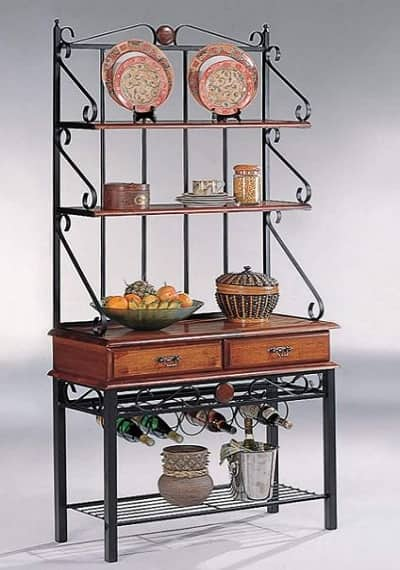 Bakers Rack with Drawers and Wine Rack