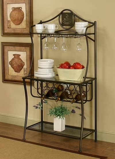 Bakers Rack with Wine Glass Storage