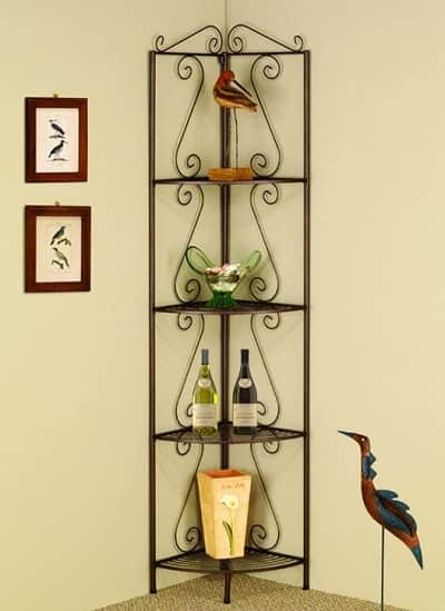 Corner Bakers Rack with Wine Storage