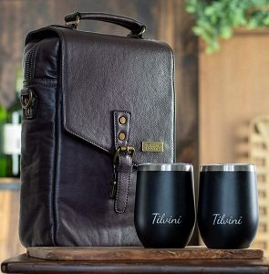 Genuine Leather Insulated Wine Bottle Travel Carrier