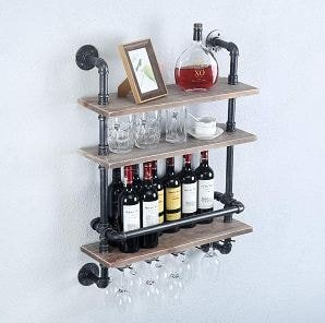 Industrial Pipe Shelf Wine Rack Wall Mounted