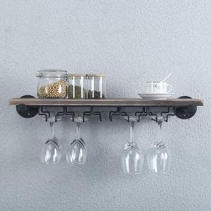 Industrial Pipe Shelving Hanging Stemware Racks