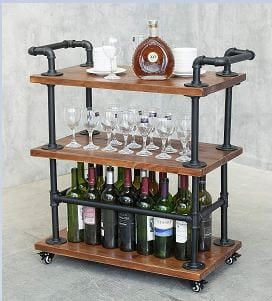Industrial Pipe Wine Rack Carts on Wheels