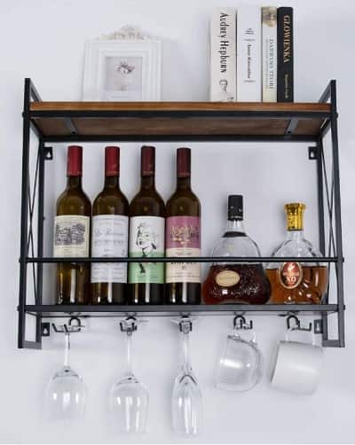 MORITIA Wall Mounted Wine Rack with 5 Glass Holder