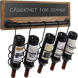 MyGift Industrial Pipe and Wood Design Wall Mounted Wine Rack