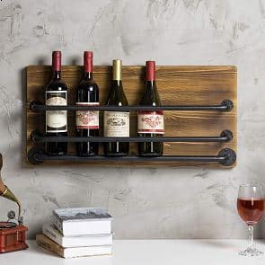 MyGift Wall-Mounted Industrial Metal Wine Rack
