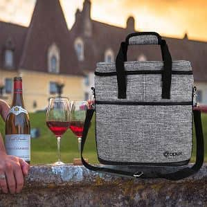 OPUX Premium Insulated 3 Bottle Wine Carrier Tote Bag