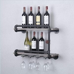 Rustic Wall Mounted Industrial Style Wine Racks