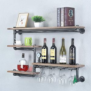 TMGY Industrial Pipe Wine Rack with 4 Stem Glass Holder