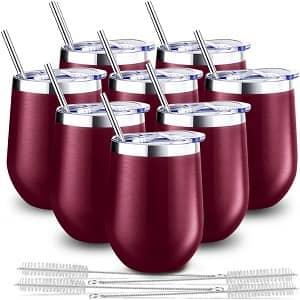 Blingco 8 Pack 12 Oz Stainless Steel Stemless Wine Tumbler
