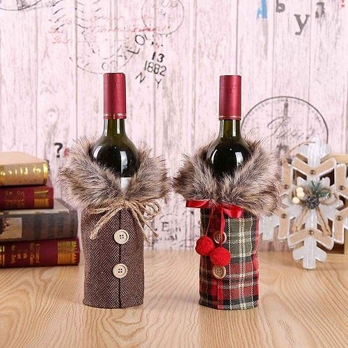 Collar & Button Coat Design Christmas Wine Bottle Cover