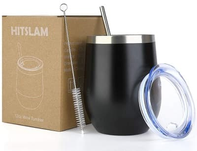 HITSLAM 12oz Stainless Steel Tumbler with Straw Lid