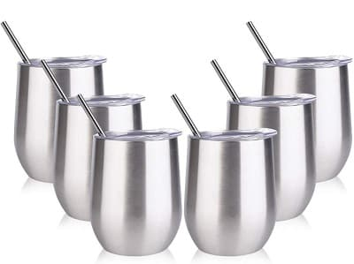 Sangyn 6 Pack Stemless Wine Tumbler with Straws and Lids