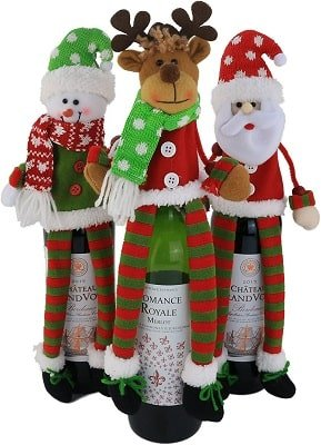 WEWILL 3Pcs Christmas Wine Bottle Cover 3D Sweater Design