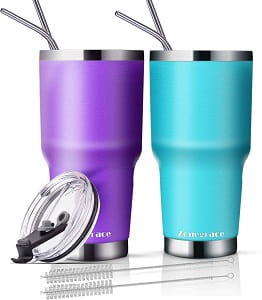 Zonegrace 2 Pack 30oz Insulated Tumbler with Lids and Straw
