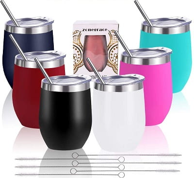 Zonegrace Stainless Steel wine glass tumbler with lid