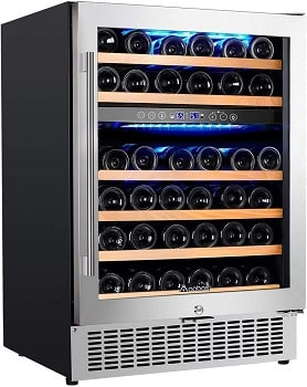 Aobosi 46 Bottle Freestanding and Built in Wine Refrigerator