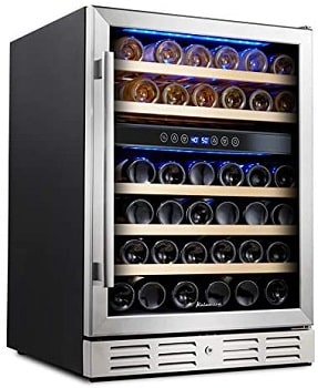 Kalamera 46 Bottle Dual Zone Wine Refrigerator With Lock