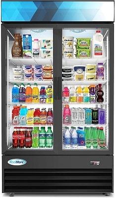 KoolMore 45 Commercial Glass 2 Door Display Beverage Refrigerator