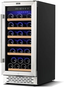 Colzer 15 Inch 32 Bottle Single Zone Wine Cooler Refrigerators