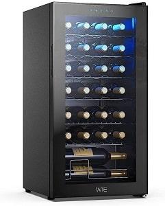 WIE 28 Bottle Single Zone Wine Cooler Refrigerator